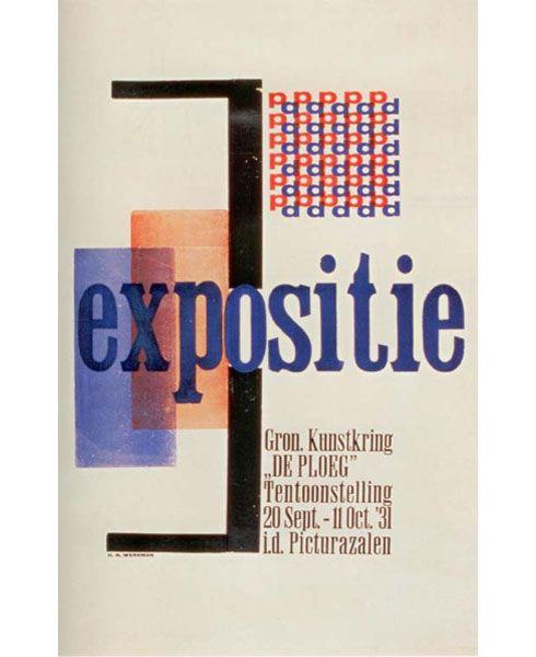 H.N. Werkman - Exhibition invite for De Ploeg  (Art collective of Groningen), 1931