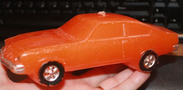 70s Natcol Novelty Chevrolet Vega Candle Orange Color and Scent Comers Candles