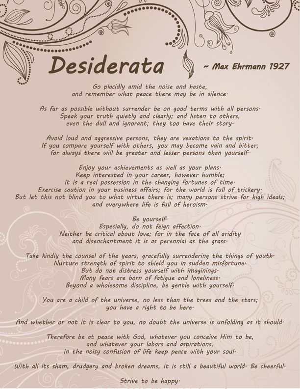 Amazing image intended for the desiderata poem printable