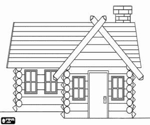 Desenho De Casa De Madeira Cabana Ou Chal 233 Para Colorir