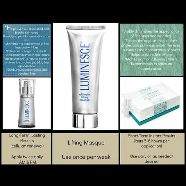 Luminesce line has taken 5 years off my appearance! You will love how the 2O0+ growth factors communicate with your own stem cells to stop aging in it's tracks by repairing damage, improve collagen and elastin,  and decreasing the appearance of fine lines and wrinkles. Learn more or order here: www.amiewolff.jeunesseglobal.com