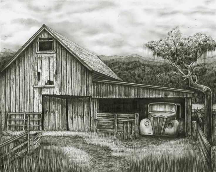 Old Weather Barns Pencil Drawings