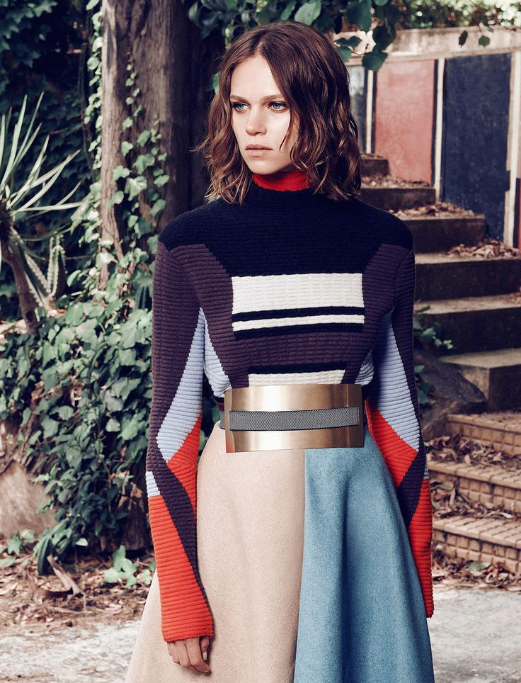 Peter Pilotto sweater / Roksanda Ilincic skirt and belt.