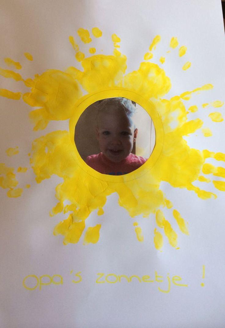 Pappa is het zonnetje in huis. Met i.p.v. een foto een stukje aluminiumfolie.