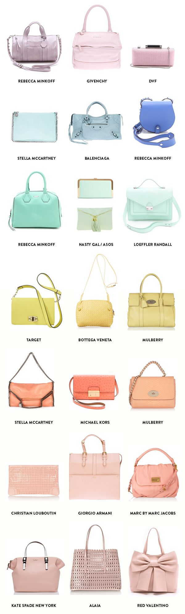 A rainbow of pastel bags for spring!!! Repin to remember all of these beautiful options! xoxo Beautylove Aprons