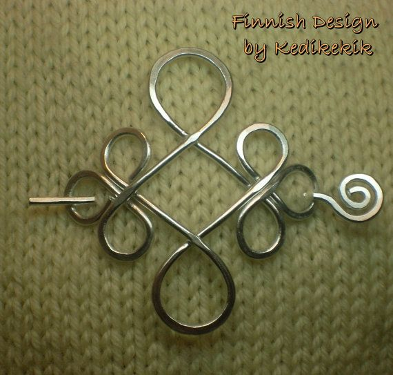 Silver CELTIC BROOCH Hair Pin or Shawl Pin made with by Kedikekik $16