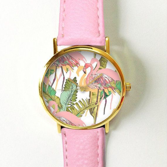 Pink Flamingo Tropical Watch , Vintage Style Leather Watch, Women Watches, Unisex Watch, Boyfriend Watch, Men's Watch, Palm Leaves , Green