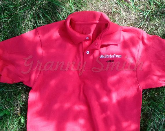 First class mail is least expensive but has no guaranteed or promised shipping days. Priority mail cost is based on your location and is 2-3 shipping days but not guaranteed. The EXPRESS 1-2 day mail shipping is $21.95 flat rate and USPS guarantees it. This listing is for a red JAKE from STATE FARM embroidered shirt. It comes in 14 Sizes!!!! I do not have all of the sizes on hand due to popular demand so please allow for 3 full production days and the shipping time based on the option that…