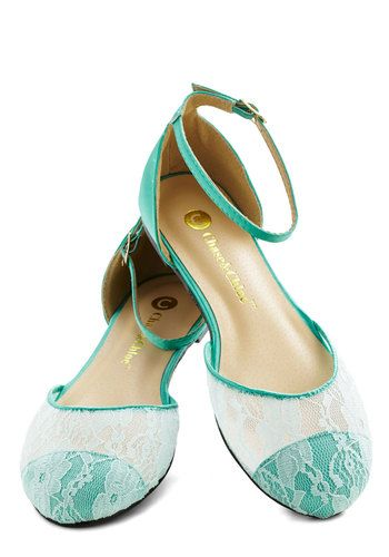 World of Wonderment Flat in Mint - Flat, Satin, Knit, Woven, Sheer, Mint, White, Solid, Lace, Good, Pastel