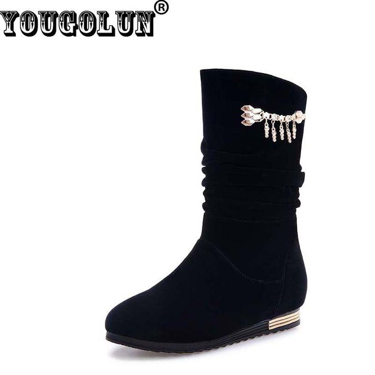 Yougolun女性冬のブーツセクシーな女性金属チェーン装飾ブーツファッション女性ウェッジ黒冬ラウンドつま先暖かい雪の靴