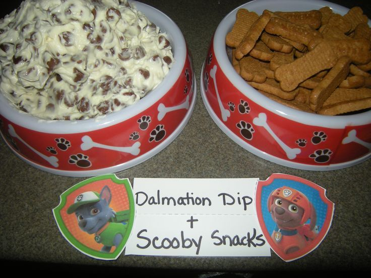 PAW Patrol Birthday Decorations | Dalmation Dip made from cream cheese, a bit of confectioners sugar ...