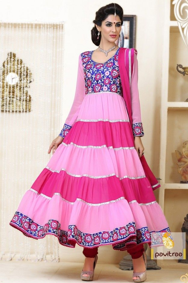 Latest designer light pink and dark pink Anarkali Salwar suit gives embroidery work, multi color combination and high quality marital with good looking dupatta.