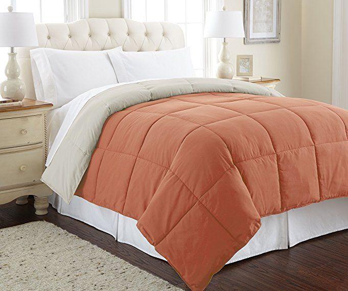 Amrapur Overseas | Goose Down Alternative Microfiber Quilted Reversible Comforter / Duvet Insert - Ultra Soft Hypoallergenic Bedding - Medium Warmth for All Seasons - [Twin, Rust/Oatmeal] #blackfriday #black #friday
