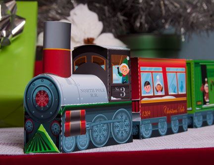 Printable christmas train, elves, reindeer, etc. My kids put it together last year and LOVED playing with it all season... made a cute centerpiece too.