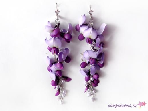 FREE TUTORIAL: Wisteria flower earrings made from polymer clay. Paste link into Google Translate to get the English version.