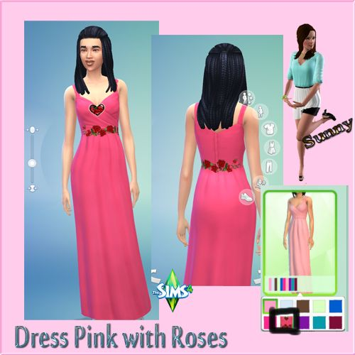 Dress Pink Roses Sims 4 - Sunny´s Sims 4 Kleider Recolors - Sims Dreams
