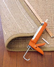 Slip-Proofing rugs - run lines of acrylic/latex based caulking on the underside of rugs to keep them in place. The rubbery caulk will prevent rug slippage!