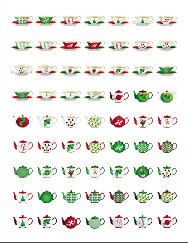 1 Sheet of 62 1-inch Round Christmas Tea Cup and Teapot Stickers