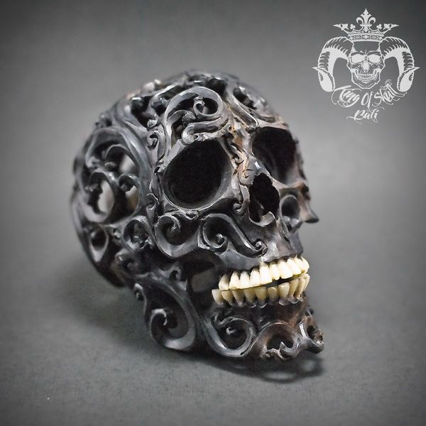 Realistic Human Hand Carved Filigree Skull With Teeth From Buffalo Bone #THB2 Find This Skull on Etsy