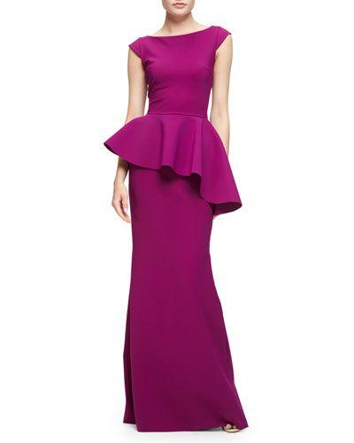 TCW5K La Petite Robe di Chiara Boni Etheline Cap-Sleeve Peplum Column Gown, Vinaccia