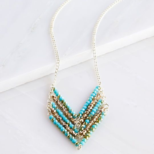 Aqua and Amber Chevron Necklace