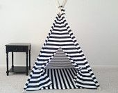 special Black and White Chevron Teepee, Tent, Kids Play House Tent Made to Order. $129.00, via Etsy.