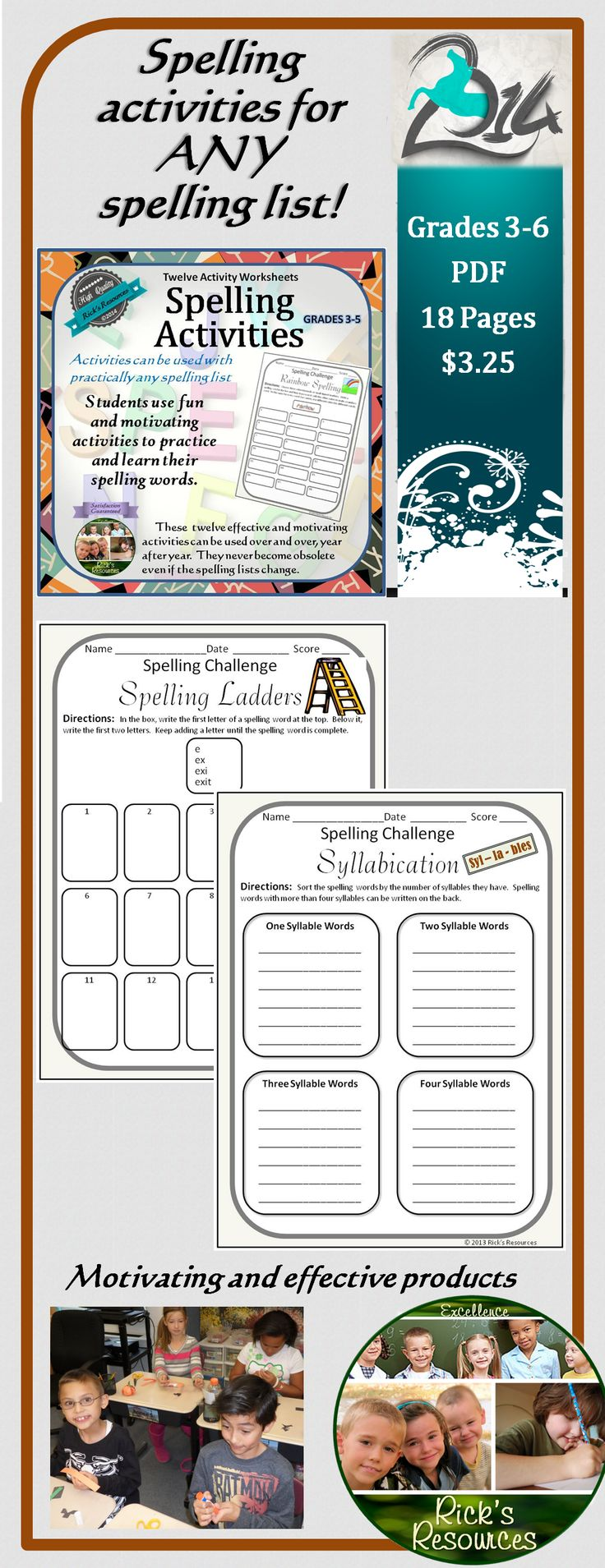These 15 fun and motivating activities will help students practice and learn their spelling words. The activities are great for homework. school practice, review, enrichment, homeschooling. The activities can be used over and over, year after year. They never become obsolete. 18 pages.  Grades 3-6