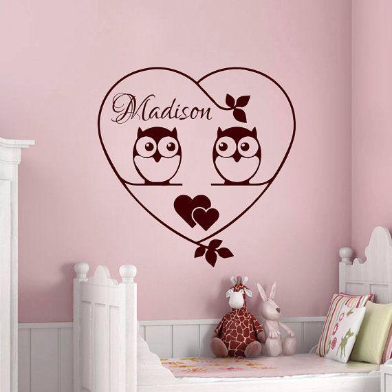 Stickers murali personalizzati nome decalcomania vinile cuore gufo ramoscello ragazza vivaio camera Playroom Decor Art murales MN168