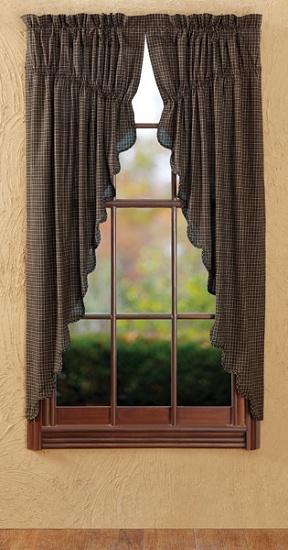 Kettle Grove Plaid Scalloped Prairie Curtains
