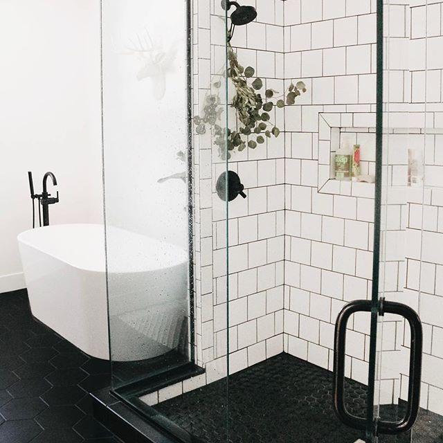 black bathroom floor white tile shower