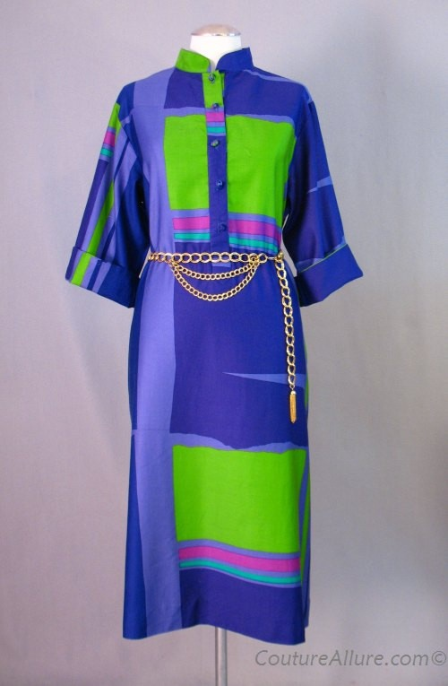 Vintage 80s OGUST PENTHOUSE GALLERY Dress Colorblock Cotton Large bust 42 at Couture Allure Vintage Clothing