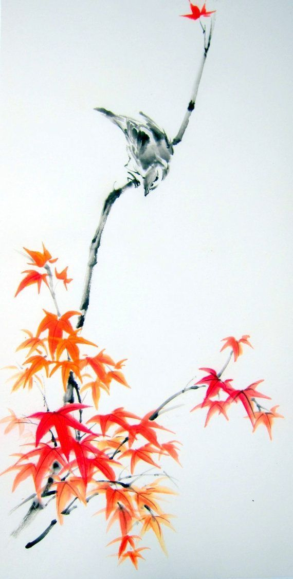 """Sparrow on Maple branch"" painted with Sumi - ink and Gansai (Japanese watercolor) on the Japanese rice paper (gasenshi)."