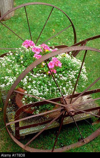 """Antique spoked wheeled cart bursting with flower power. """"Otter Tail"""" County Minnesota MN USA Stock Photo"""