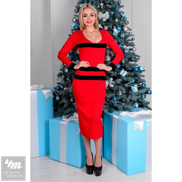 Платье Modus «Вена» (Черный, красный) http://lnk.al/35H8  В платье из трикотажа вы можете выглядеть сногсшибательно в любое время года. Длинна ниже колена визуально вытягивает силуэт и делает его тоньше. Красивое декольте и вырез на спинке подчеркнет вашу женственность и изящество.