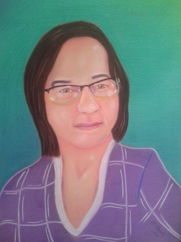 """""""Rita Bartis"""" 50x70 cardboard, pastels."""