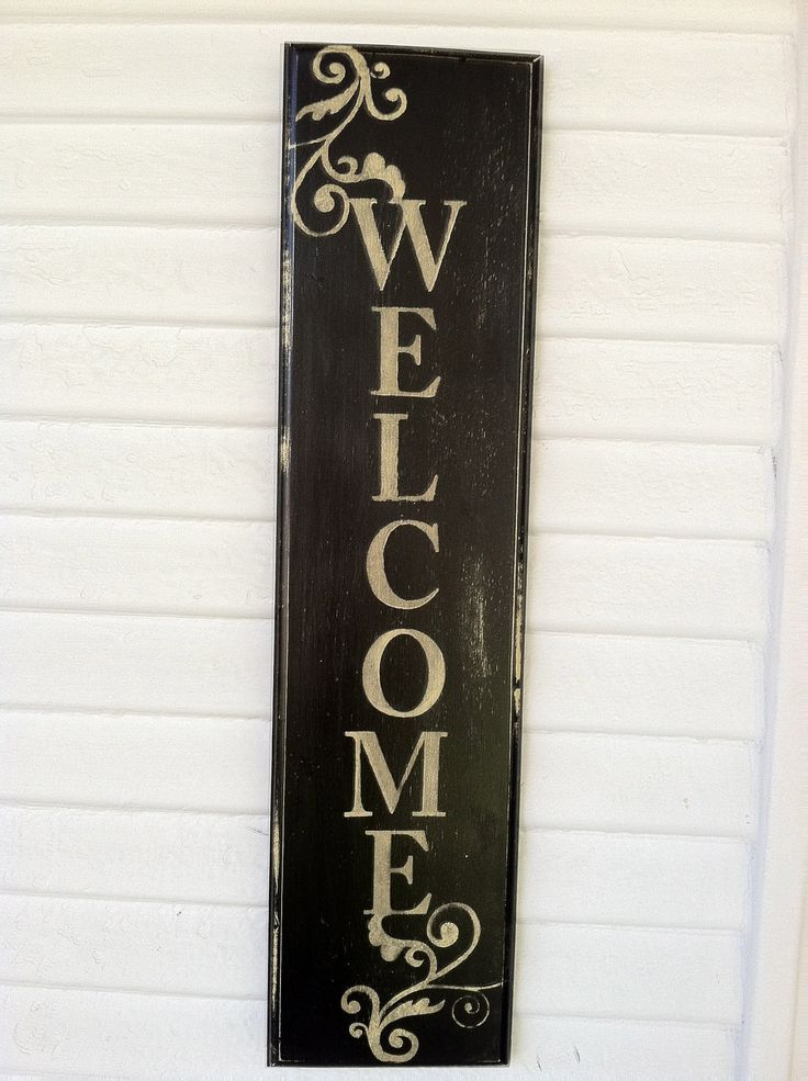 Hand Painted Aged Wooden Welcome Sign by by lauraleidesign on Etsy, $20.00