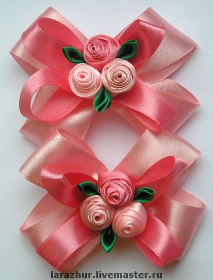 """Бантики """"Принцесса"""" - цветы ручной работы,резинка для волос,детские украшения"""