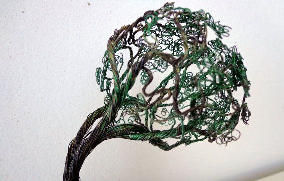 Wire Art Green fantasy bonsai miniature tree by WireArtbyCatherine