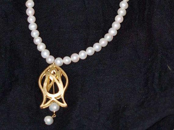 Pearl Necklace Unique Necklace Tulip Necklace Ottoman