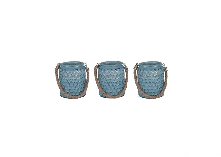 Set of 3 Blue Candle Holders | Blue Home Accessories | Blue Interiors