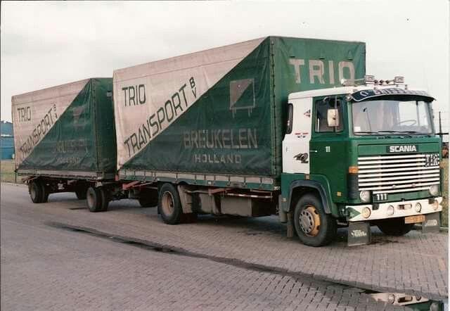 Scania LB 111 4x2 met huifaanhanger vab Trio Transport in Breukelen