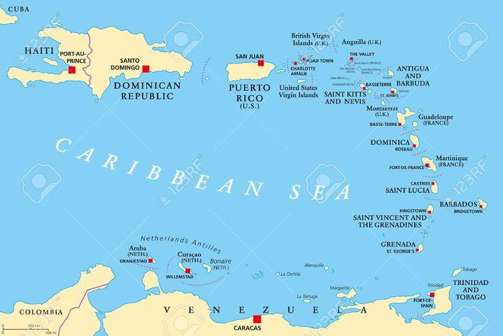 Antillas menores mapa pol tico los caribes con hait la rep blica dominicana y puerto rico en - Nacionalidad de puerto rico en ingles ...