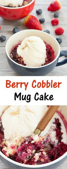 Berry Cobbler Mug Cake. Ready in 5 minutes!