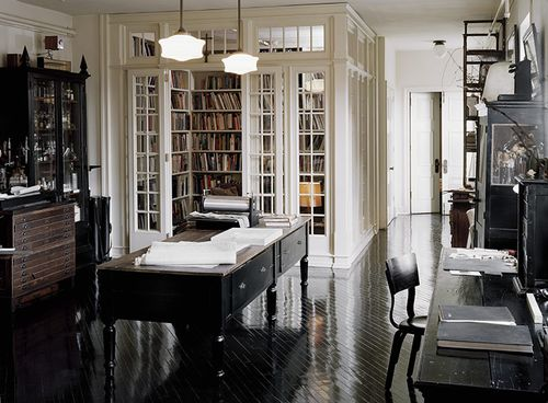 office and library. black and white.