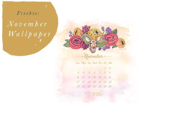 Free November 2013 Calendar   Desktop Download Wallpaper   Smitten On Paper