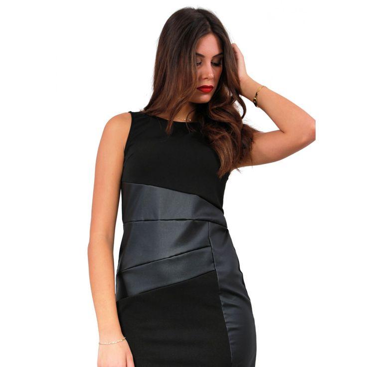 Φόρεμα αμάνικο με δερμάτινες λεπτομέρειες 70%pol-25%Visk-5%Lycra