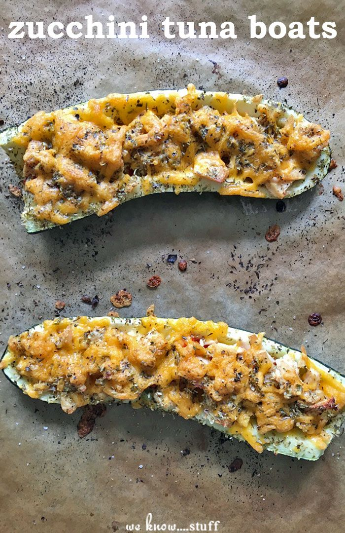 These Zucchini Tuna Boats only need 5 minutes of prep time - just chop up some veggies, mix in some Albacore Tuna, sprinkle on cheddar cheese and bake!