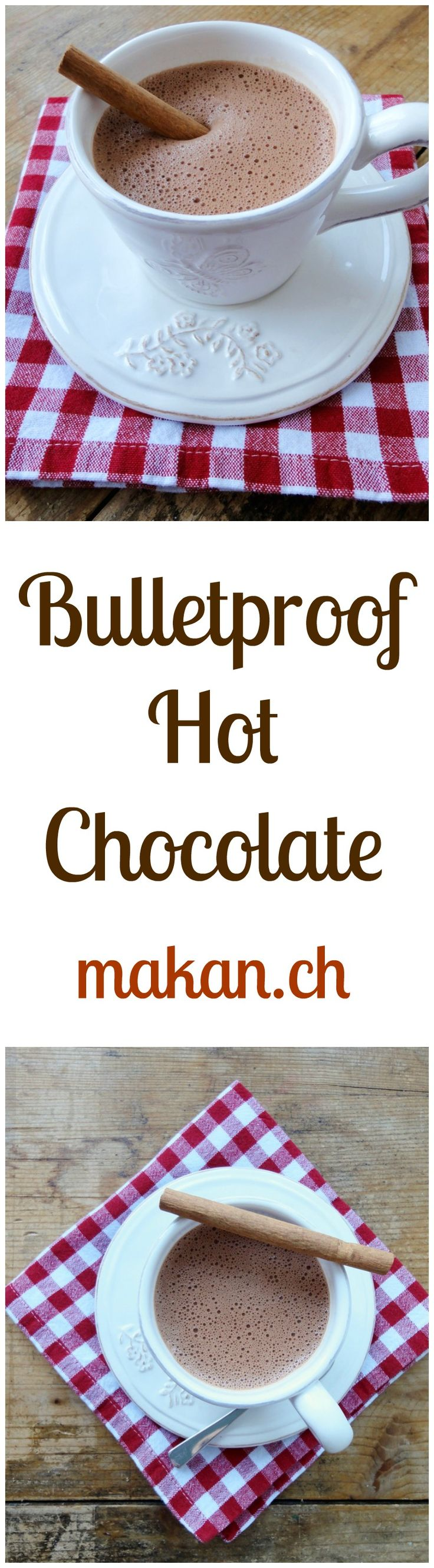 Bulletproof Hot Cocoa: Boil 1/2 cup water & 1/2 cup coconut milk. Off heat. Add 2 T unsalted butter, 1 T coconut or MCT oil, 2 T cocao, 1/4 t vanilla, dash cinnamon, sweetener. Blend till frothy. gm John 3:16