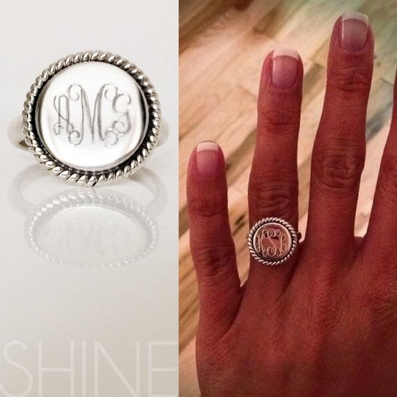 Monogram sterlina anello argento intrecciato di shopSHINElife