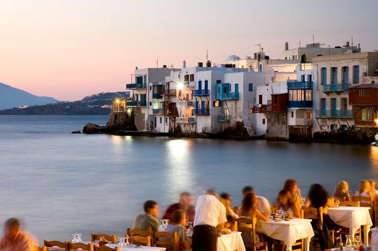 Little Venice at night, Mykonos. http://www.rooms-2-let.com